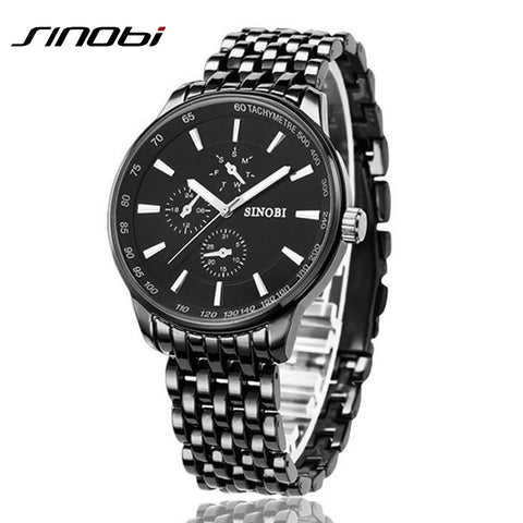 Fashion Black Full Steel Men Casual Quartz Watch JAPAN Clock Male Military Wristwatch SINOBI Brand - Best Buy Affordable