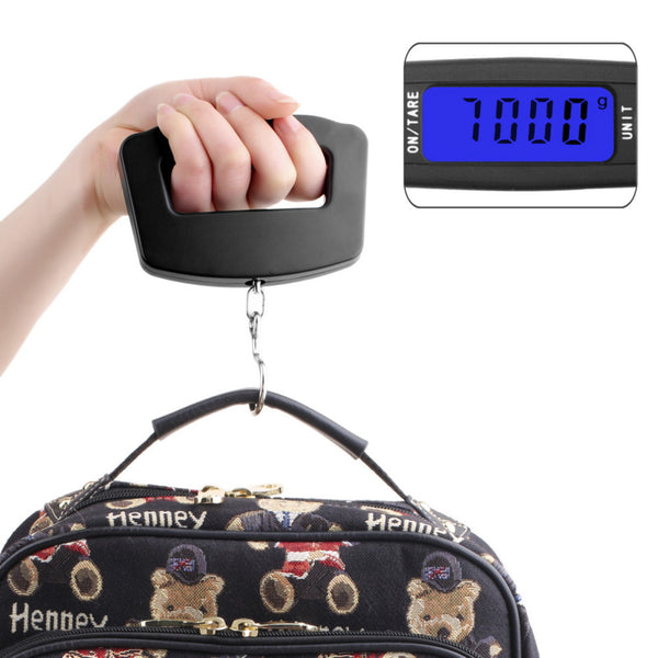 50Kg/10g LCD Screen Digital Electronic Portable Hanging Luggage Weight Wide Hook Scale with Blue Backlight - Best Buy Affordable