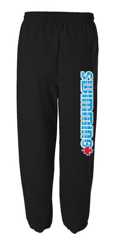 Blue Swimming with Red Maple Leaf Sweatpants