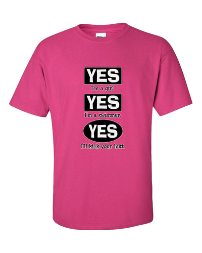 Yes I Am A Girl Yes I Am A Swimmer Short Sleeve T-Shirt