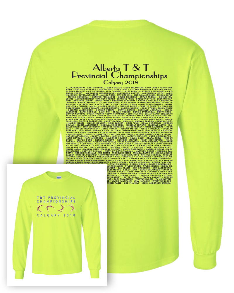 Alberta Trampoline & Tumbling Provincial Championships 2018 Long Sleeve  T-Shirt With Names on Back