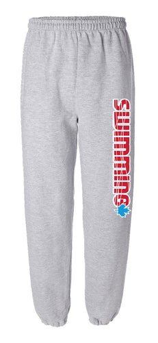 Red Swimming with Blue Maple Leaf Sweatpants