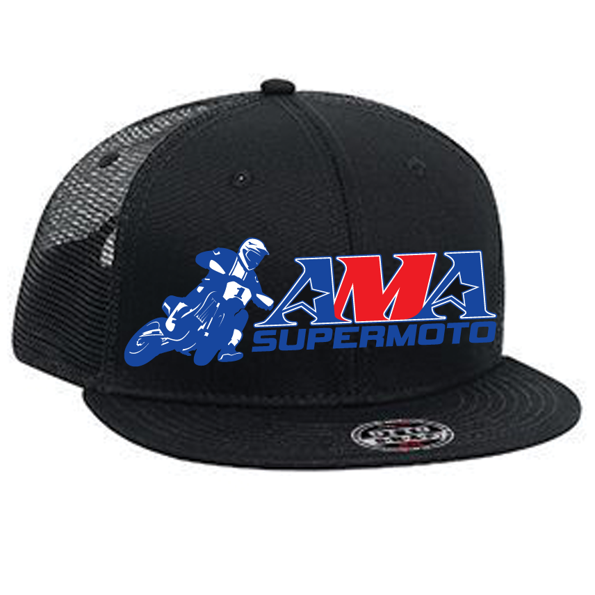 Official AMA Supermoto Snapback Mesh Hat - Black