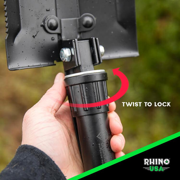Rhino USA - Folding Survival Shovel with Pick