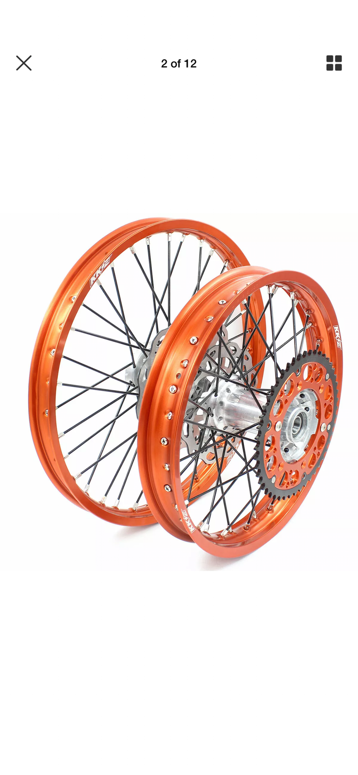 Wheel Set - 1.6*21 & 2.15*19 KKE MX KTM 125-530 XCF XC SXF 450 Rims with 260mm Disc