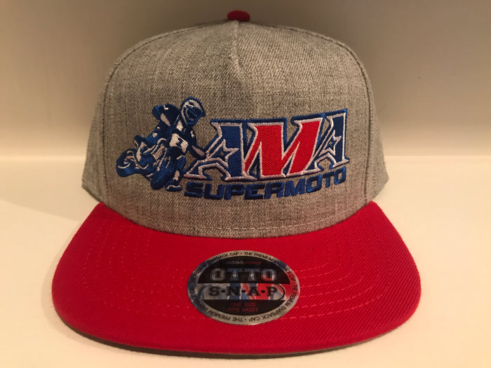Official AMA Supermoto Heather Gray / Red Snap Hat