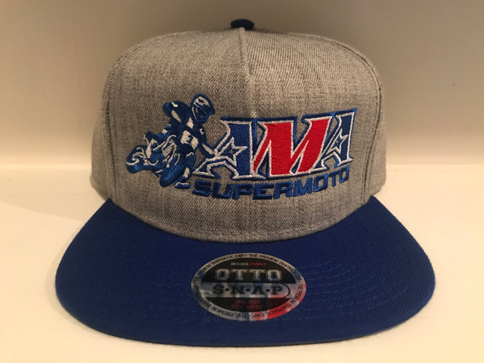 Official AMA Supermoto Heather Gray / Royal Blue Snap Hat
