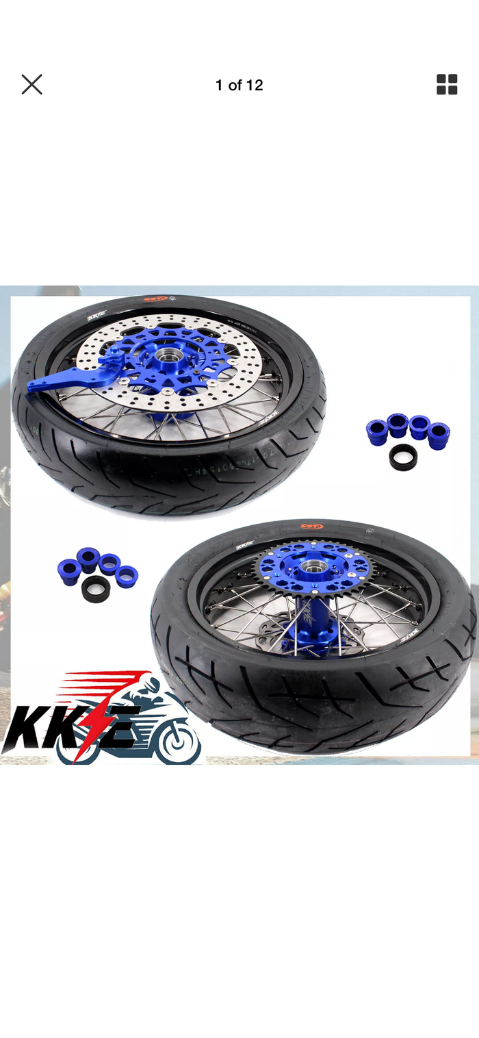 Wheel Set - 3.5*17 & 4.25*17 - KKE Supermoto KTM EXC SX XCW SX SXF 00-19 Blue Rims with Tires