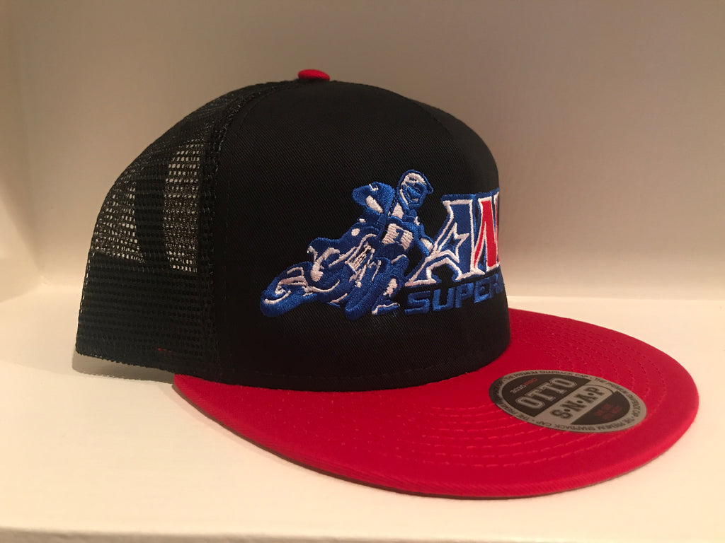 Official AMA Supermoto Black / Red Mesh Snap Hat