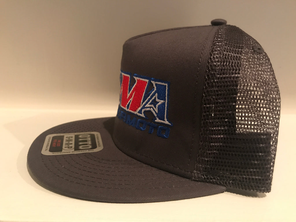 Official AMA Supermoto Solid Charcoal Gray Mesh Snap Hat