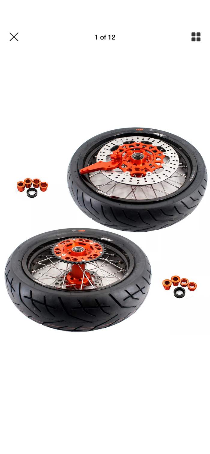 Wheel Set - 3.5*17 & 4.25*17 - KKE Supermoto KTM SXF EXC SX XCW  XCF 00-19 Orange Rims with Tires