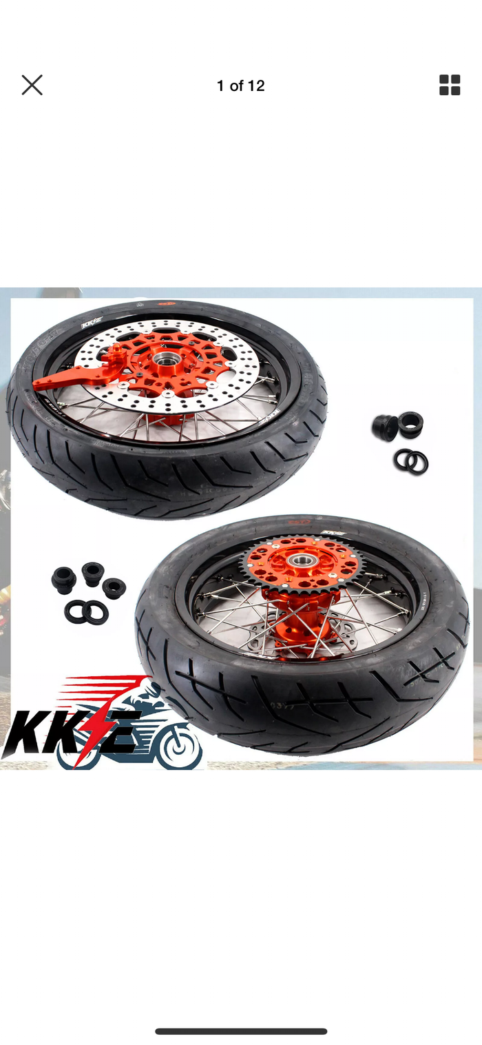 Wheel Set - 3.5*17 & 4.25*17 - KKE Supermoto KTM EXC XCW EXCF SX SXF Orange Rims with Tires