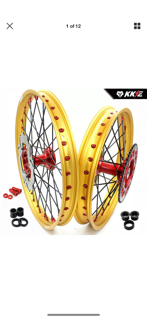 Wheel Set - 1.6*21 & 2.15*19 KKE MX Honda CR125R 96-97 CR250R 96 CR500R Rims with 220mm Disc