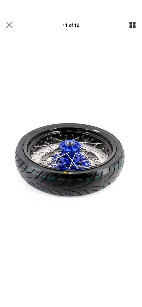 WHEEL SET - 3.5*17 & 4.25*17 - KKE SUPERMOTO KTM EXC SX XCW SX SXF 00-19 BLUE WITH CST TIRE
