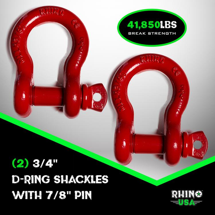 Rhino USA - D-Ring Shackle Set (2-Pack)