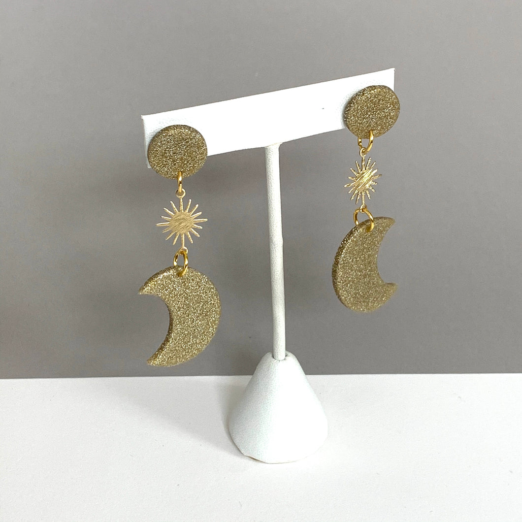 gold sun and moon polymer clay earrings