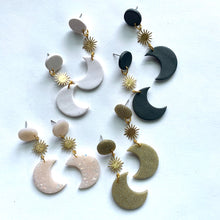 sun and moon earrings with brass