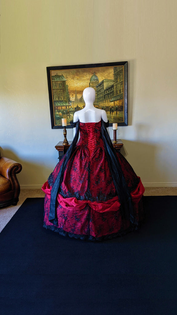 Red and Black Gothic Victorian Gown