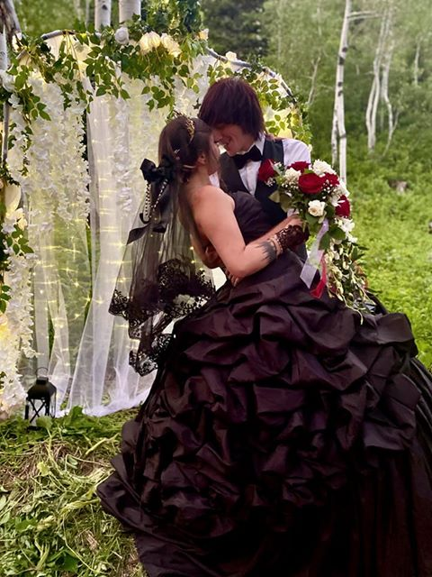 Elegant Gothic Black Wedding Dress