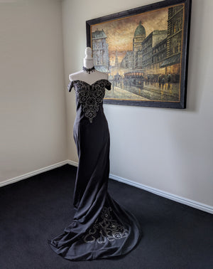 Black Gothic Beaded off the shoulder Wedding Gown