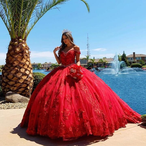 Off the Shoulder Red Vintage Gown