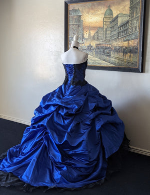 Vintage Black & Blue Custom Gothic Gown
