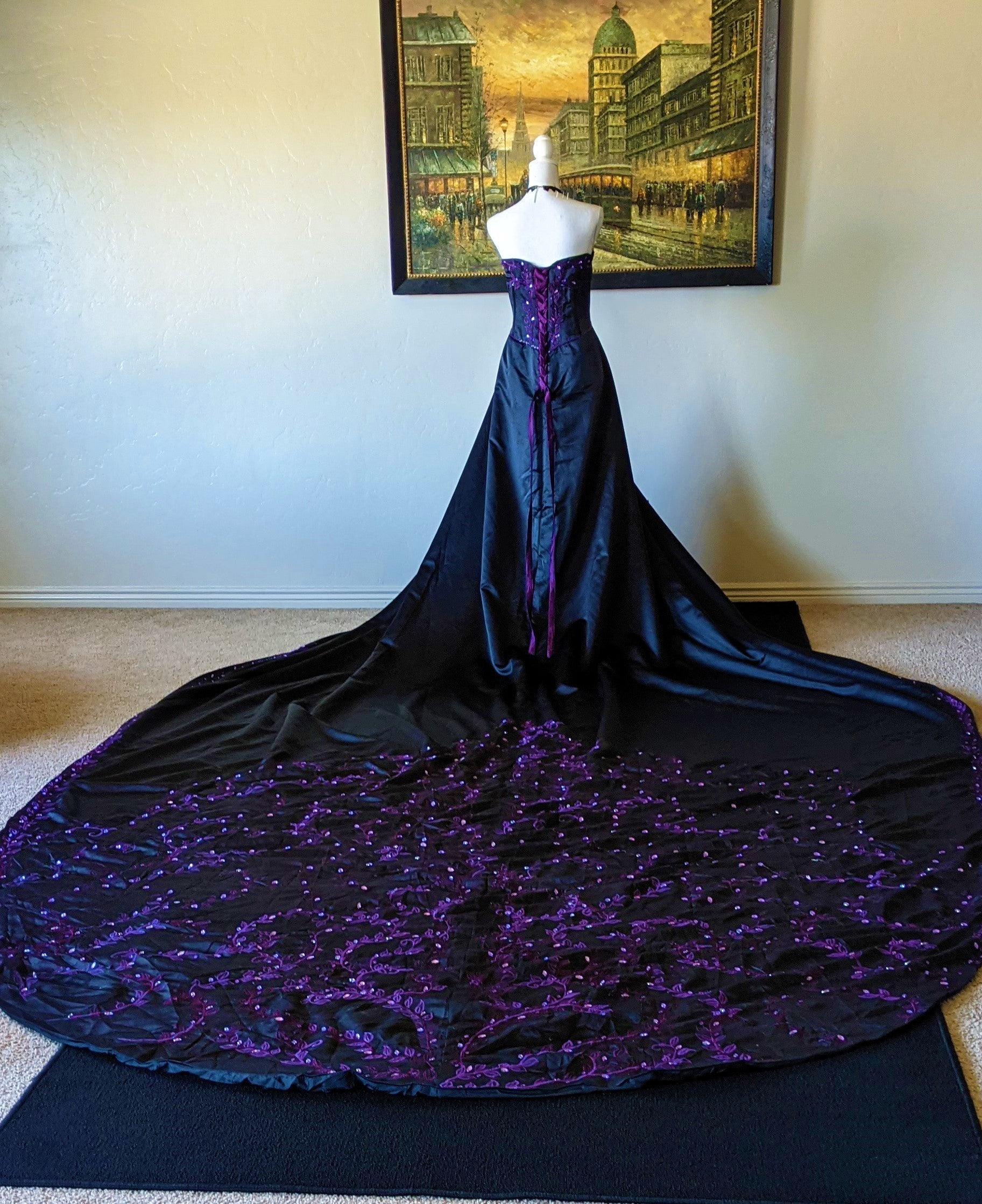 Vintage Black & Purple Embroidered Custom Gothic Gown
