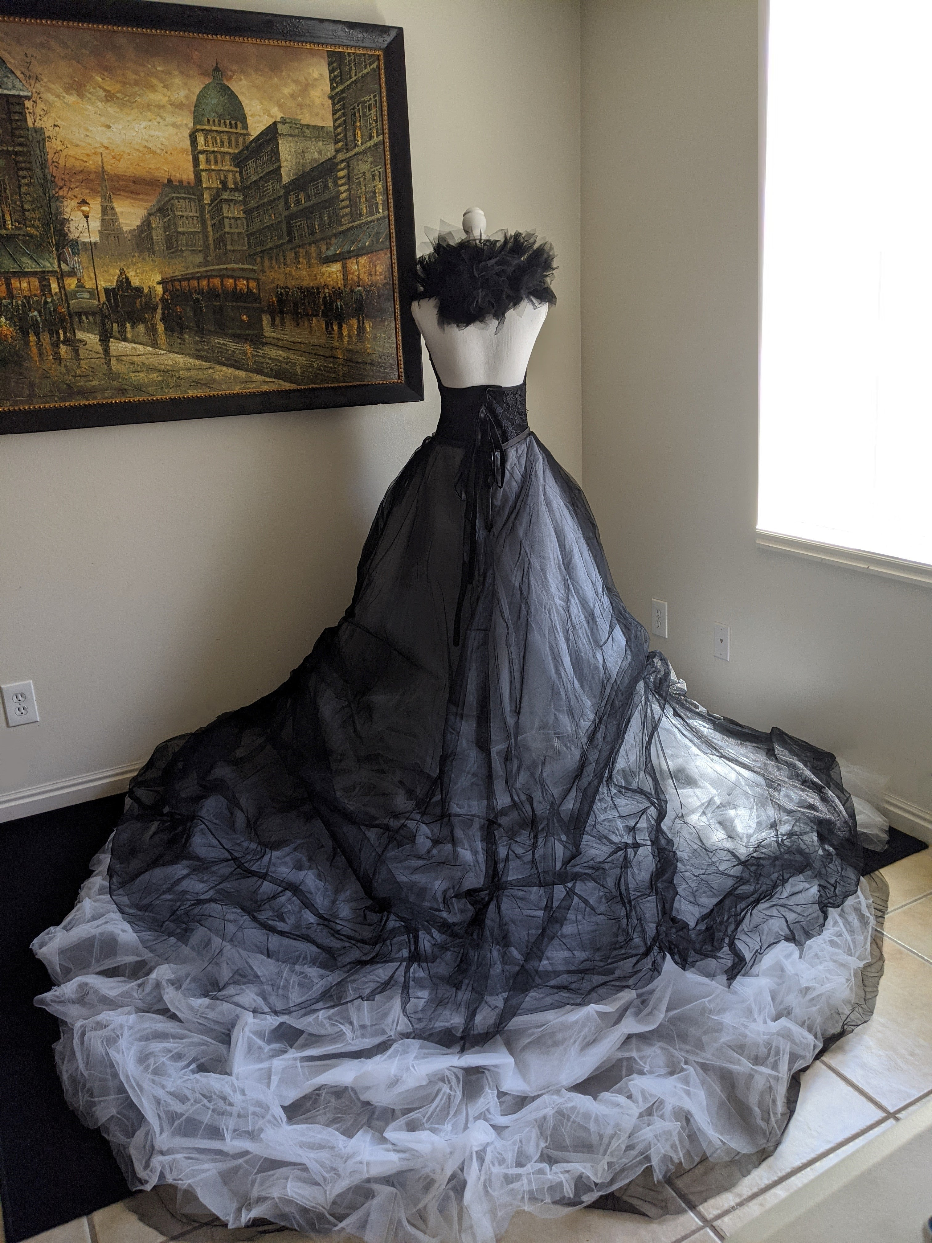 Elegant White and Black Gothic Gown