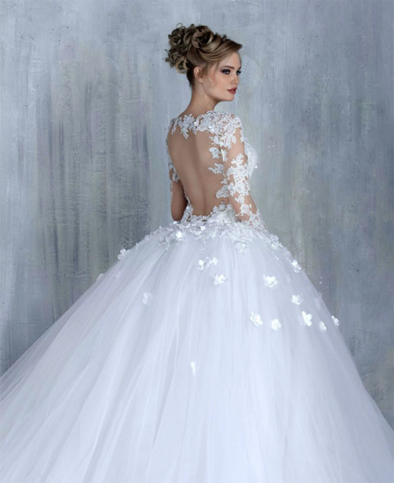 Modest Long Sleeve Wedding Ball Gown with Illusion Back 3D Flowers