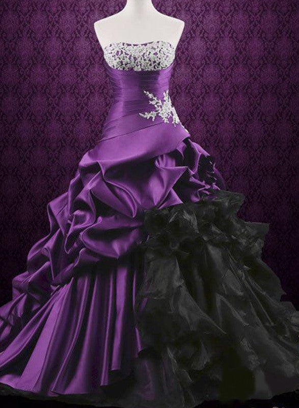 Purple Gothic Layered Gown with Lace Appliques