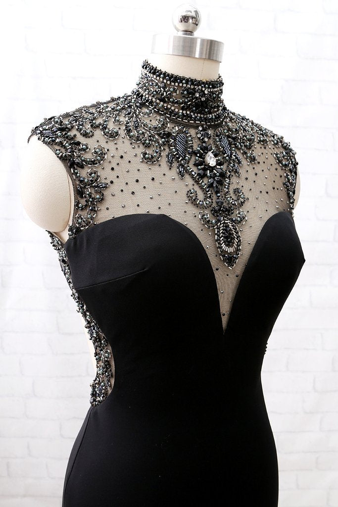 High Neck Beaded Black Gothic Gown