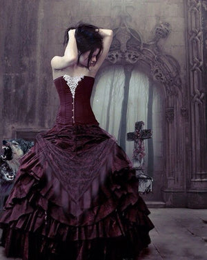 Gothic Black Corset Ball Gown