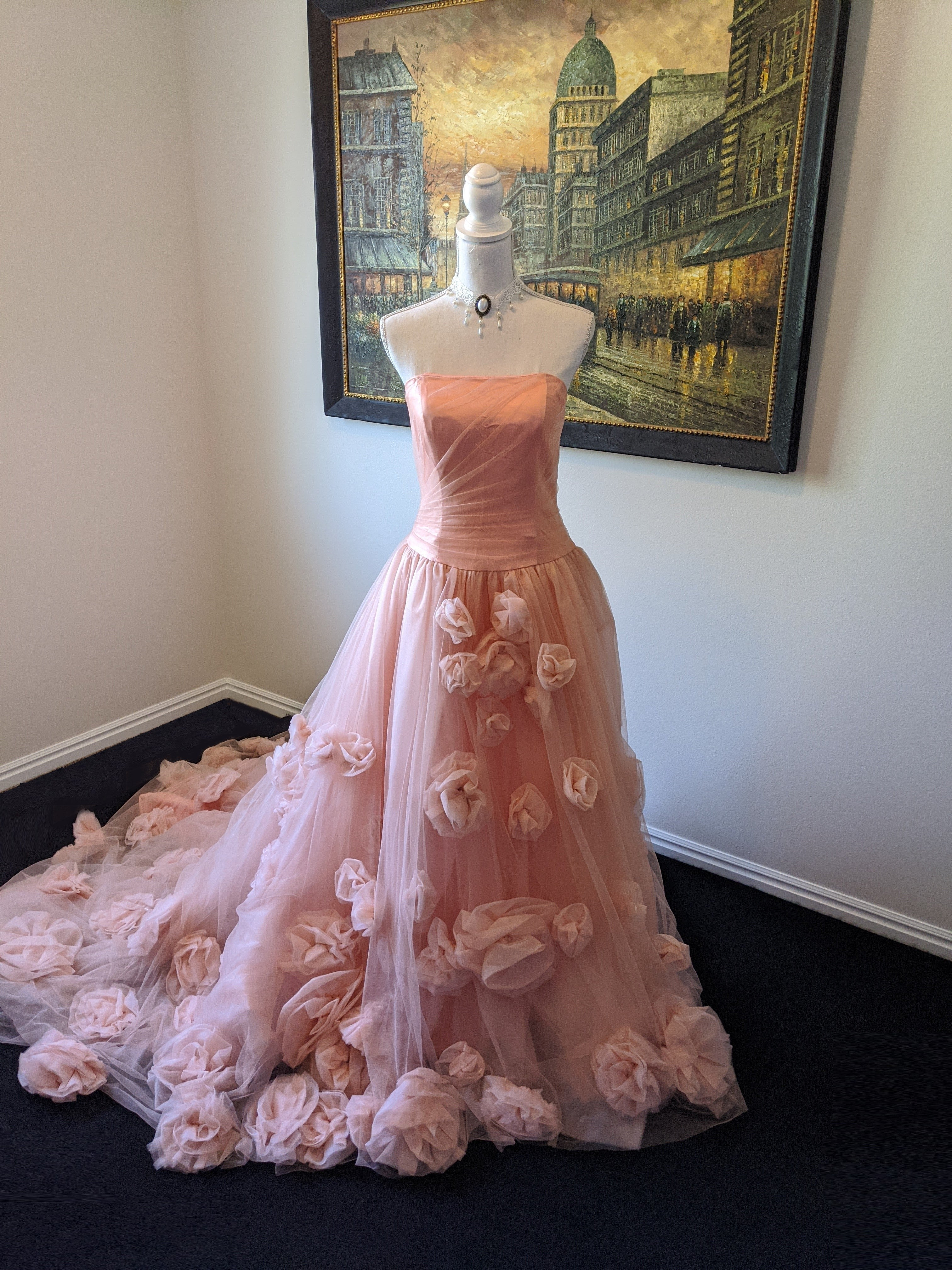 Victorian Handmade Flower Princess Dress With Puffy Train