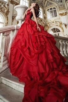 Elegant Rose Red Gothic Wedding Dress