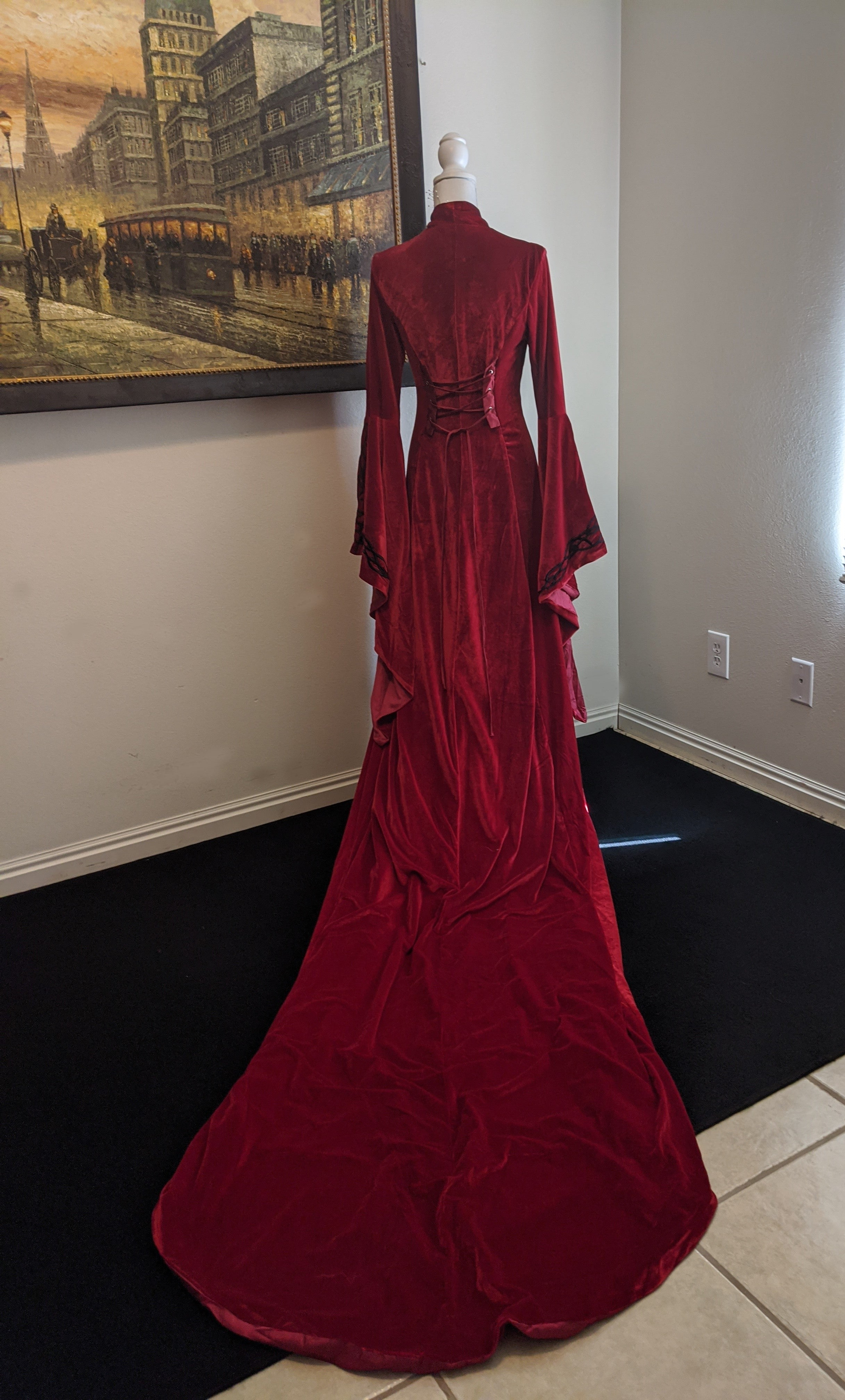 Red Gothic Wedding Cloak/ Gown