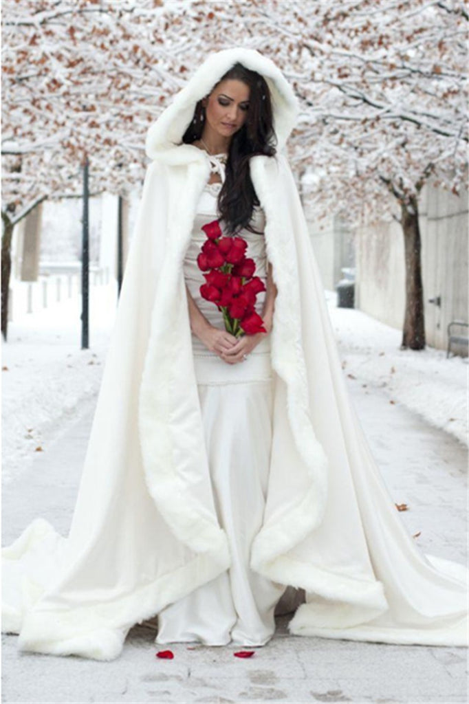White Hooded Bridal Cape