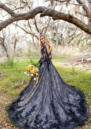 Gothic Lace Appliqued Bridal Gown