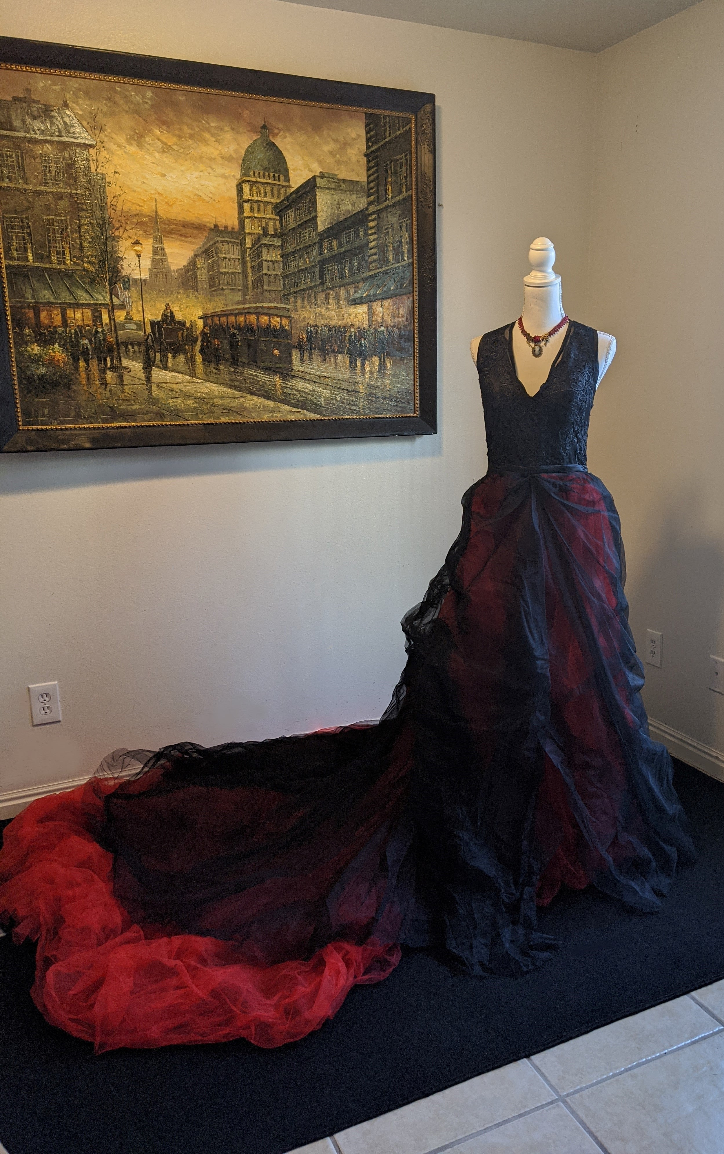 Red and Black Gothic Vintage Bridal Dress