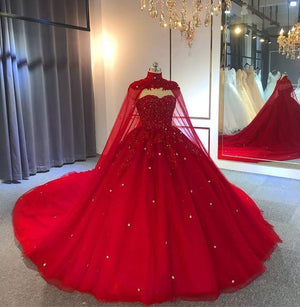 Red Gothic Wedding Dress with Cape