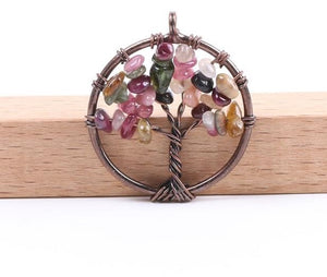 Colorful Garnet Tree of Life Pendant