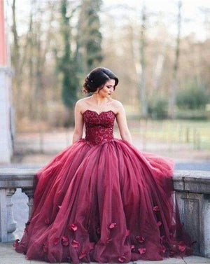 Burgundy Appliqued Gown