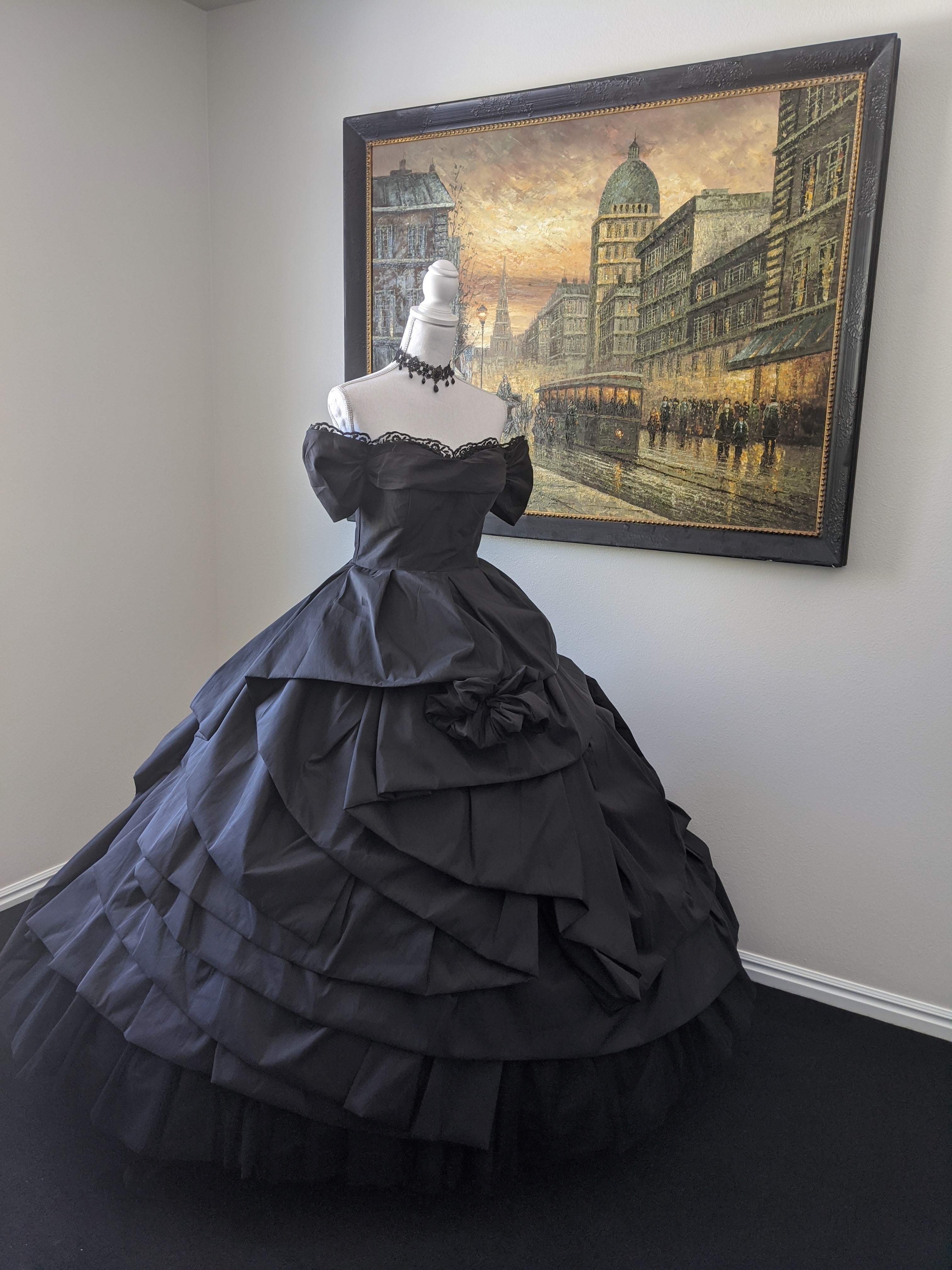 Elegant Vintage Black Victorian Custom Made Gothic Gown