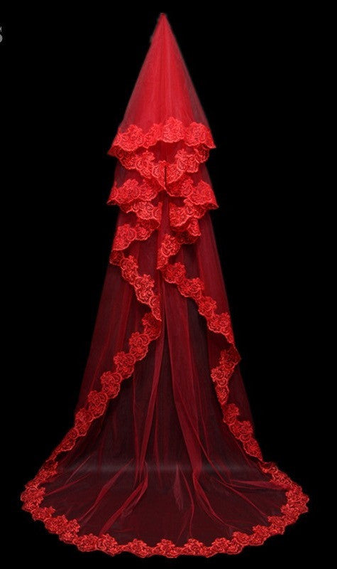 Red\Ivory\White 3 Meters Wedding Veils with Lace Appliques
