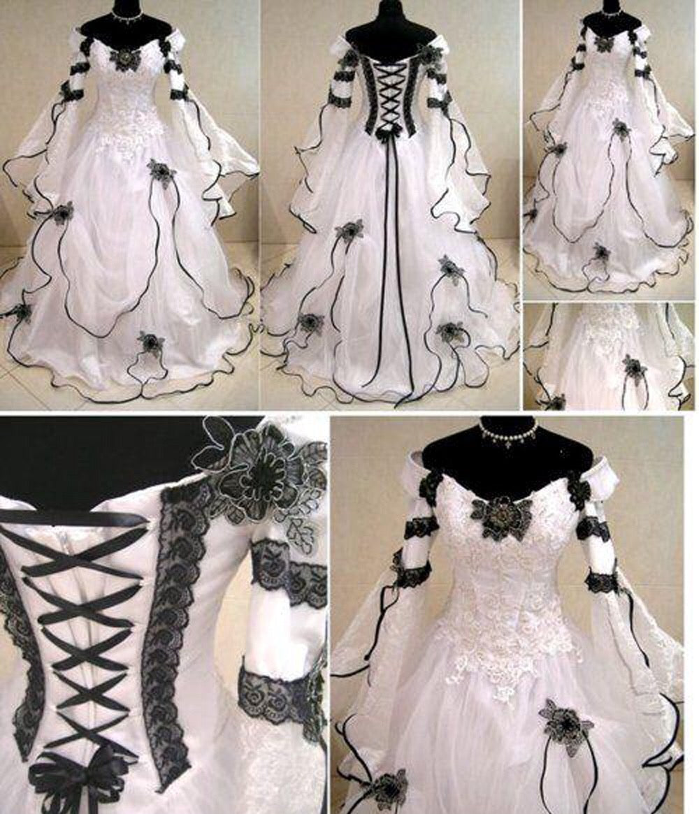 White and Black Medieval Gothic Wedding Dress