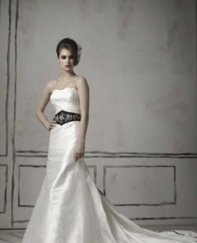 Gothic Beaded White/ Ivory  Wedding Dress with Long Sleeve Black Cape