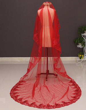 Red Lace Appliques Long Bridal Veil