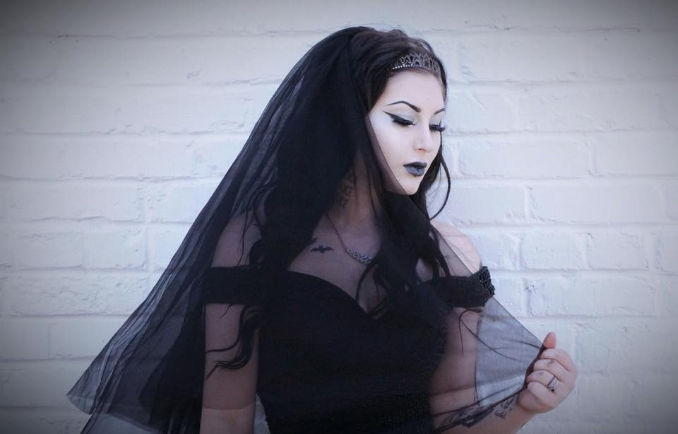 Enchanting Gothic Wedding Dress with Chapel Train. Custom Colors Available