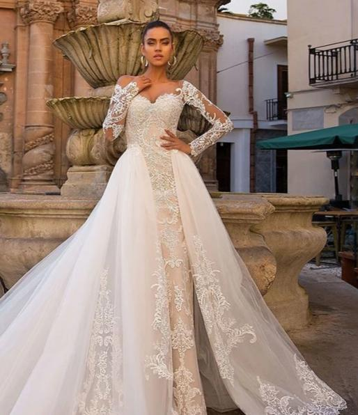Long Sleeve Mermaid Wedding Dress with Detachable Train
