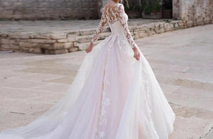 Illusion Long Sleeve Princess Wedding Dress