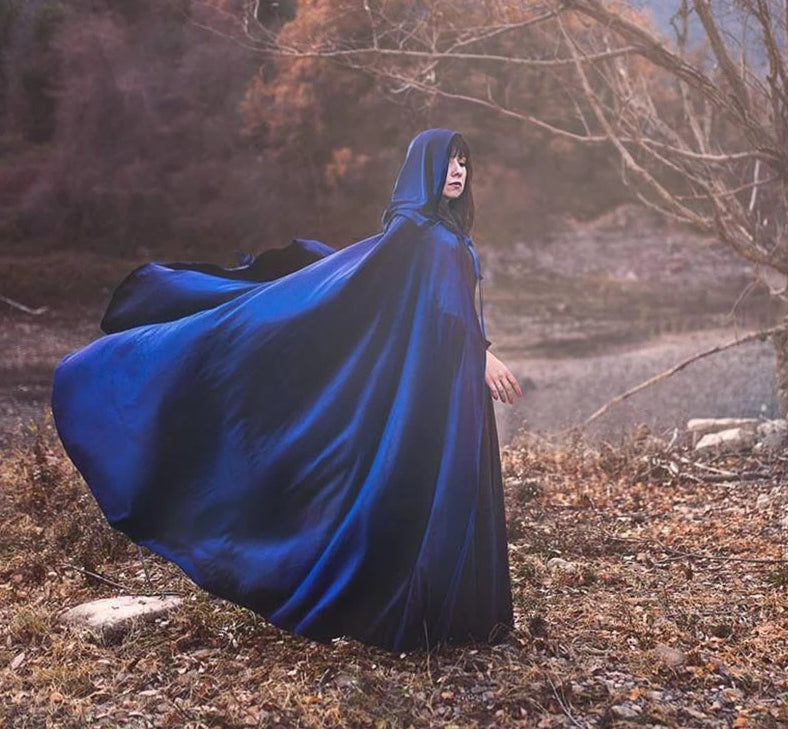 Vintage Gothic Blue Velvet Wedding Cape. Colors Available